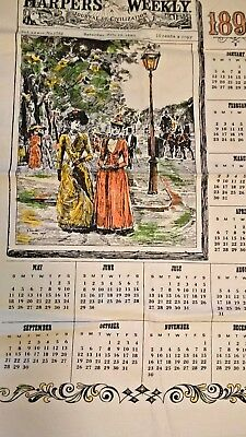 Vintage Linen Tea Towel Stamped 1890 Smith Calendar Harper's Weekly  Repro EUC