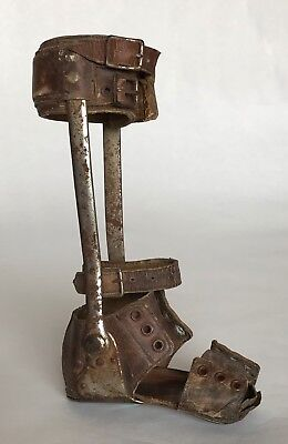 Antique Steampunk Medical Child Leather Metal Polio Leg Brace Foot Shoe