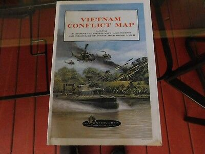 Vintage Vietnam Conflict Map~C.S. Hammond~First NATIONAL OF BANK THREE RIVERS MI