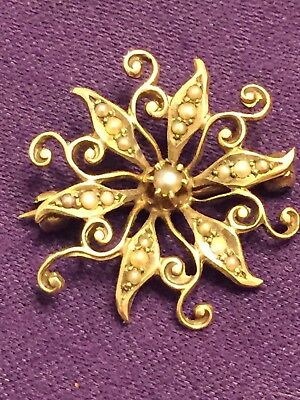 Antique Victorian Seed Pearl & 10K Yellow Gold Flower Brooch Pendant