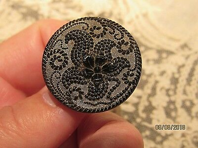 Antique Black Glass Button silver lustre lacy - old vintage sewing button