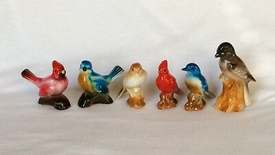 VTG Japan 6 Small Porcelain Bird Figurines Cardinal Bluebird Sparrow Mid Century