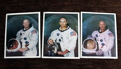 Lot of nine (9) official NASA Apollo 11 photos: astronauts, various moon/space