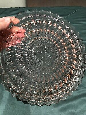 Pink Depression Glass Holiday Sandwich Plate 10 Inches  Cake Plate CL)