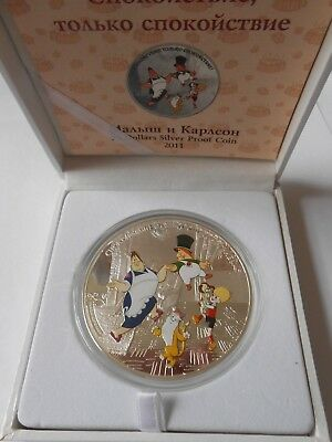 Cook Islands 2011 $25 Soyuzmultfilm - Malish and Karlsson 5 Oz Silver Proof Coin
