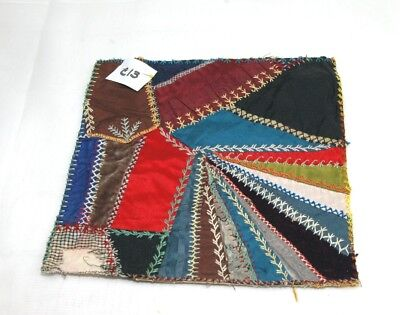 Antique Crazy Quilt Section Embroidered Detailed Stitching Study C13