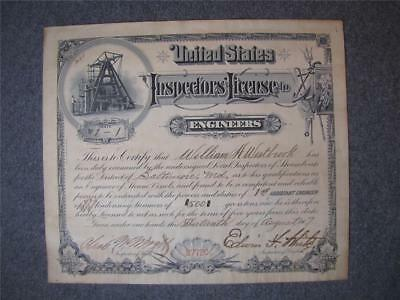 Antique 1907 United States Inspectors License Engineer Steam Boat Baltimore MD