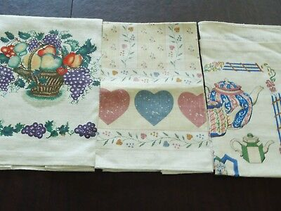"3 Vintage All Linen Printed Kitchen Towels Measures: 16"" x 27""  unused"