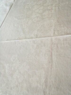 """Antique Pure linen Irish Damask Tablecloth with garlands 64"""" x 42"""""""