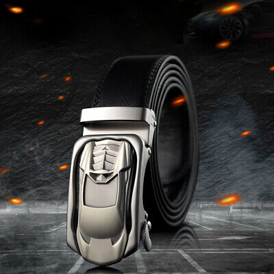 MensCowhide Leather Belt Adjustable Business Metal Automatic Car Designed Buckle