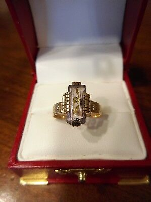 Rare Antique Victorian 10K Rose Gold Carved Amethyst Rose Cut Diamond Ring