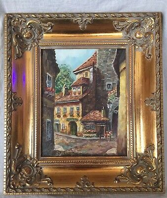 """Vintage Oil Painting Signed the German Artist M. Schony """"Rustic Building"""" W/ COA"""