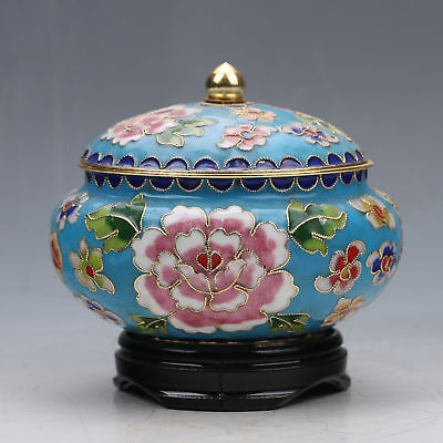 Exquisite Chinese Cloisonne Handwork Subshrubby Peony Flower Storage Tank