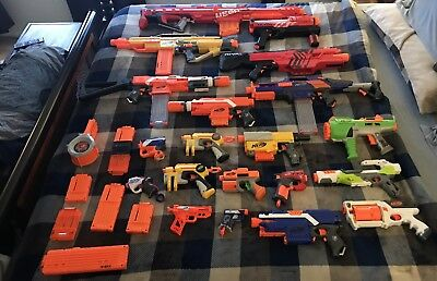 Used 20+ Nerf gun lot with attachments and clips