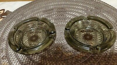 Sands Hotel Smoked Glass Brown Sunburst Imprint Ashtray Las Vegas Nevada.
