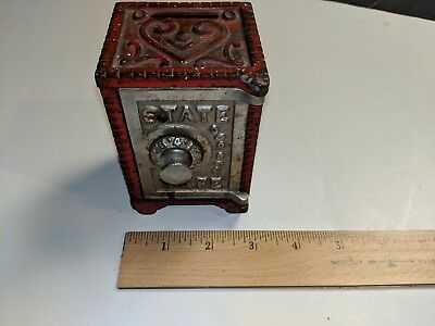 "VINTAGE 4 1/4"" high STATE SAFE cast iron metal combination coin bank"