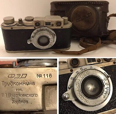 Very Early USSR FED Camera Serial No.116 FED 1:35 F=50 mm Lens w/Case Rare!