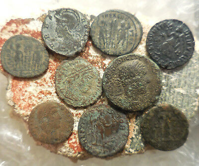 Lot of 9 Ancient Roman Coins Interesting Chariot Scene on the largest 21 mm coin