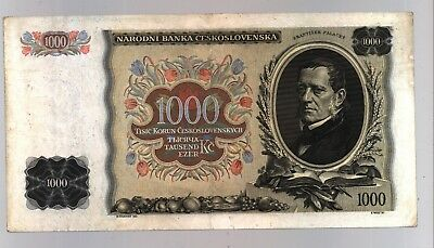 CZECHOSLOVAKIA 1934 P26 1000 KORUN Real Issued Currency Banknote Not Specimen !