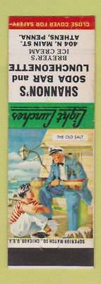 Matchbook Cover - Shannon's Soda Bar Lunch Athens PA Old Salt