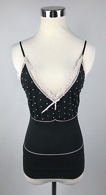 Victorias Secret Medium Cami black cream lace polka dot top spaghetti straps