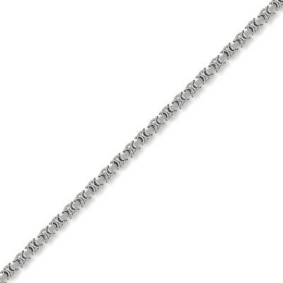Jewelco London 9ct White Gold Flat Byzantine 4.1mm Chain Necklace