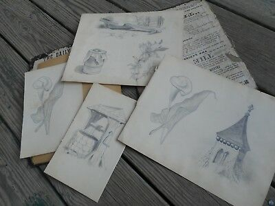 19th century sketches; several amazing antique drawings