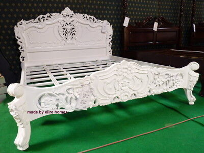 UK STOCK 6' Super King Diamond White French style designer mahogany Rococo Bed