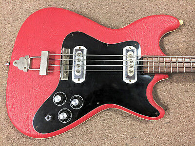 Mid 1960's Klira Arkansas Bass Guitar, Tiny Neck, Red Vinyl, Cool Sound, Unique!