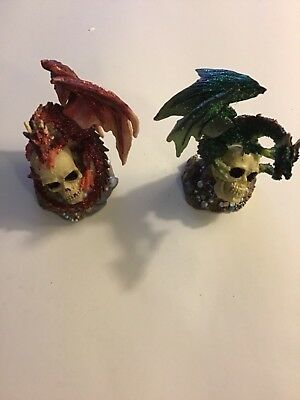 """Fire and Earth Dragon Green & Red dragon and Skull of The Beast Sculpture  4"""""""