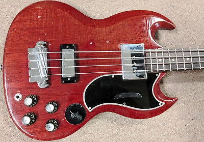 1965 Gibson EB-3 Short Scale Bass Guitar, Original, Cherry, 2 Pickup, VeriTone!