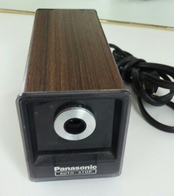 Vintage Panasonic KP-77 Auto Stop Electric Pencil Sharpener Wood Grain Japan