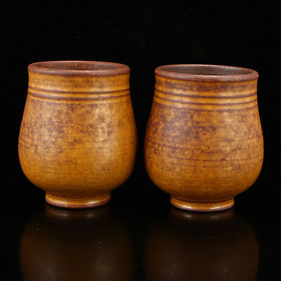 A Pair Chinese Yellow Pottery Cups