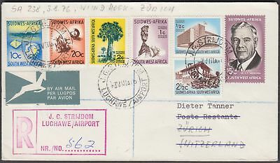 S.w Africa 1976 Scarce Multiple Franked Regd. Airmail Cvr From Lughawe To Switze