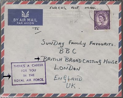 Hong Kong China Gb Forces Airmail Cover With Qe 1 Val To London.
