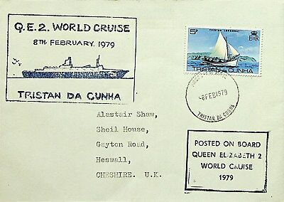 Tristan Da Cunh 1979 Qe 2 World Cruise Cover From Ship To Uk With 1 Value