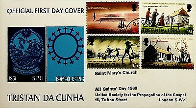 Tristan Da Cunha 1969 4 Values Of Propagation Of The Gospel On Fdc To London