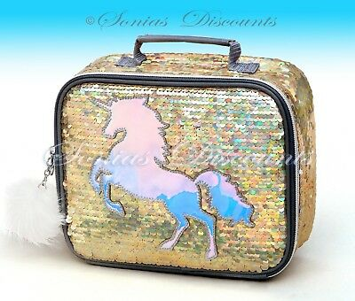 Justice Unicorn Gold Flip Sequin Lunch Tote Lunch Box - NWT - Simply Gorgeous!