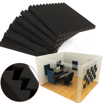 "12pcs Acoustic Wedge Studio Soundproofing Foam Wall Tiles 12"" X 12"" X 1"" Inches"