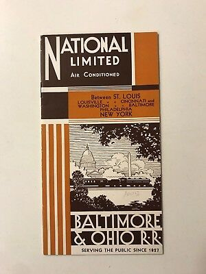 1932 National Limited  B&o Baltimore Ohio Vintage Railroad Rare Train Brochure