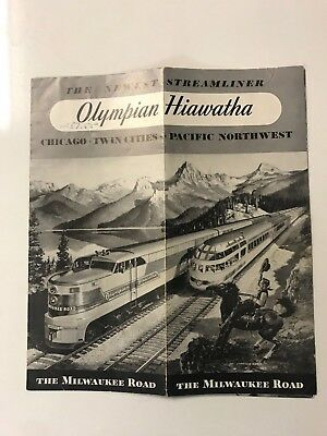 1949 Milwaukee Road Olympian Hiawatha Vintage Railroad Rare Train Brochure