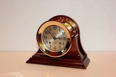"""CHELSEA ANTIQUE SHIPS BELL CLOCK 4 1/2"""" DIAL Circa 1920s RED BRASS RESTORED"""