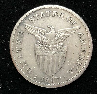 1907s US-Philippines 1 Peso Silver Coin - lot #22A