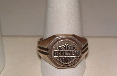 Estate Sterling Silver Chunky Harley Davidson Motor Cycles Mens Ring 19.5G Sz 13