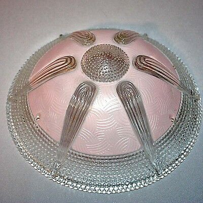 "Vtg CEILING LIGHT FIXTURE CHANDELIER PINK GLASS SHADE 10"" Three Hole Deco Globe"