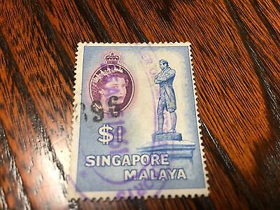 Vintage Stamp from Singapore Malaya, 1961