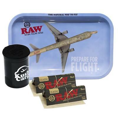 RAW Rolling Tray Medium Prepare for Flight with RAW Black Rolling Papers