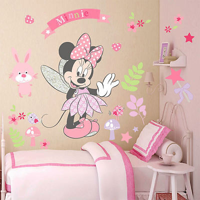 Pink Minnie Mouse Wall Stickers Cartoon Mural Vinyl Decals Kids Girls Room Decor