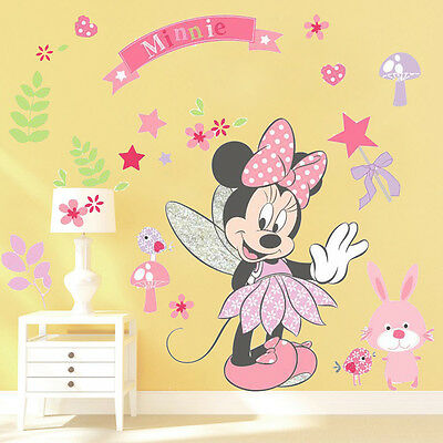 Cute Minnie Mouse Wall Stickers Vinyl Decals Kids Girls Nursery Baby Room Decor