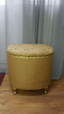 Small Vintage Retro Ottoman Lloyd loom floral and gold
